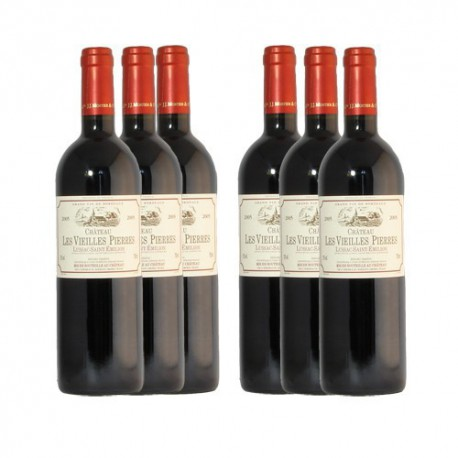 6 bouteilles Château les Vieilles Pierres 2011 AOC Lussac-St emilion, 6x75cl