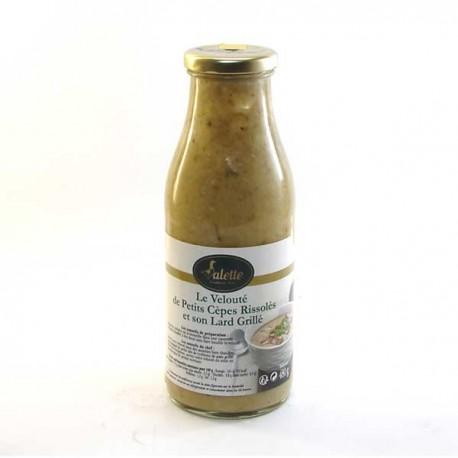 Le velouté de petits cèpes rissolés et son lard grillé 480g Valette