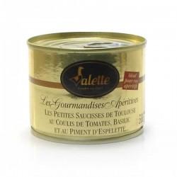 Les saucisses de Toulouse au coulis de tomates, basilic et piment d'Espelette 200g Valette