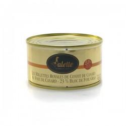 Les rillettes royales de confit de canard au foie de canard de bloc de foie gras 130g Valette