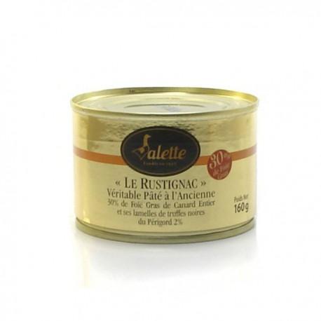 Le rustignac véritable pâté à l'ancienne foie gras de canard entier lamelles de truffe noire entière 160g Valette
