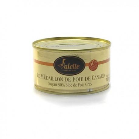 Le médaillon de foie de canard noyau bloc de foie gras 130g Valette