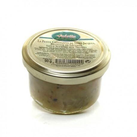 La cassolette de Saint-Jacques, brunoise de légumes, sauce suprême aux truffes 90g Valette