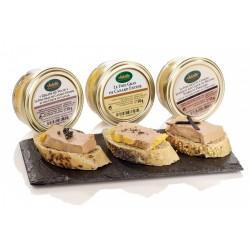 Assortiment de 3 foies gras de canard entiers en bocal 50g dans un étui : nature truffe noire du Périgord caviar 50g Valette