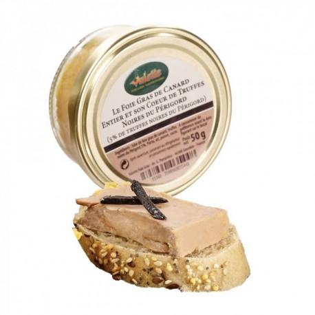 Le foie gras de canard entier et son cœur de truffes noires du Périgord 50g Valette