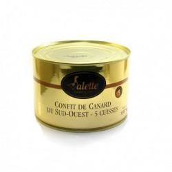 Confit de Canard du Sud-Ouest - Boîte Festive de 1,6 Kg (5 Cuisses) Valette