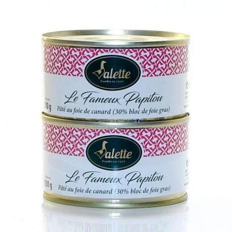 """Le """"Fameux Papitou"""" Pâté au Foie de Canard (30% de Bloc de Foie Gras) 260g"""