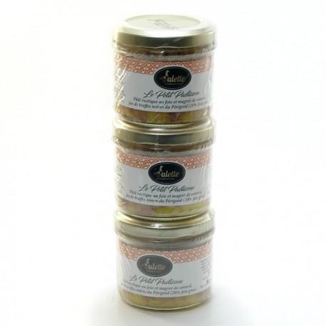 Petit Pastisson Pâté au Foie (20%) et Magret de Canard, Jus de Truffes 3x90g