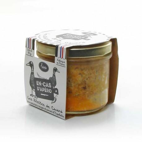 Les rillettes de canard aux poivrons rouges et piment d'Espelette 90g Valette