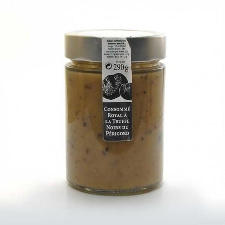 Le consommé royal à la truffe noire du Périgord jus de truffes noires et truffes noires 290g Valette